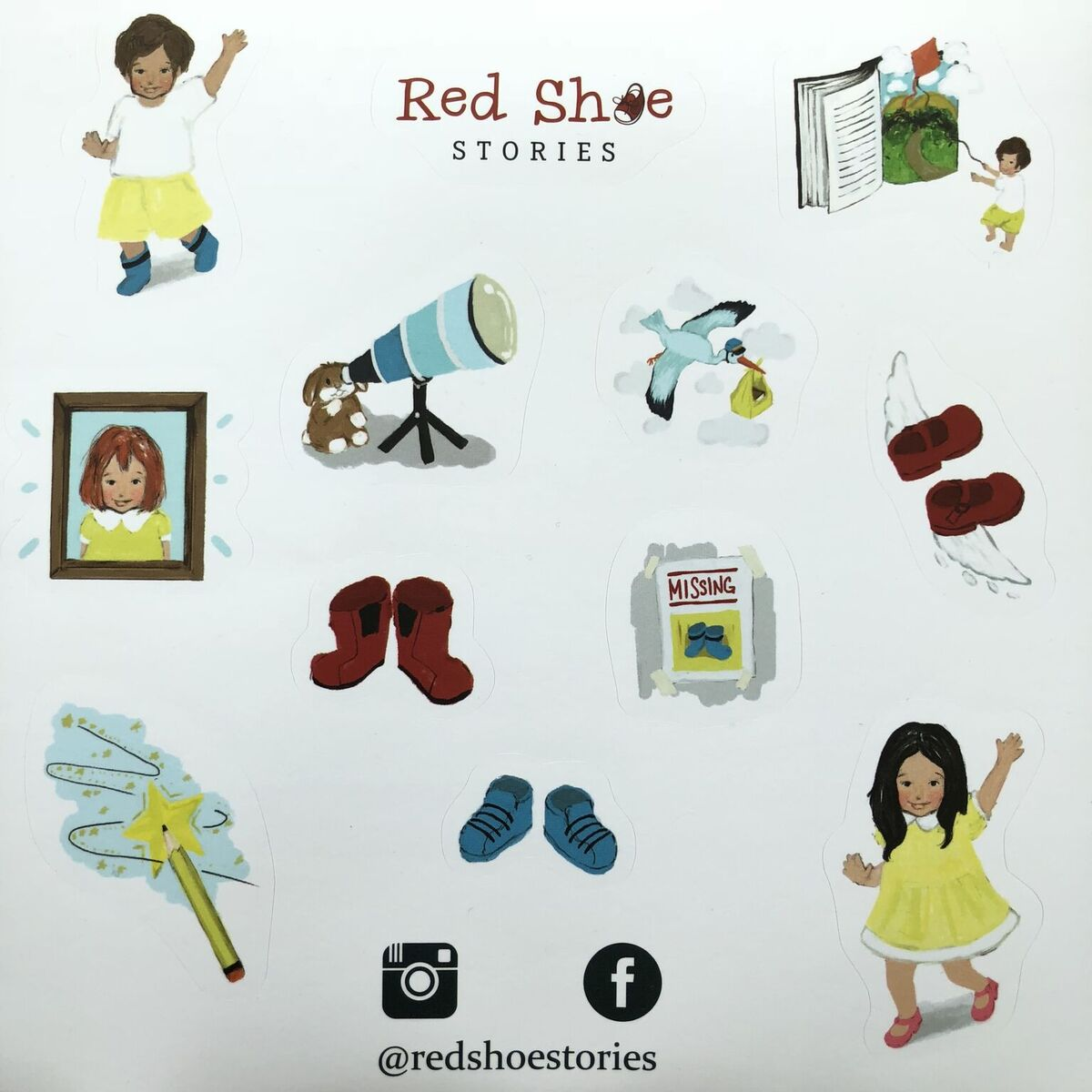 Custom Stickers for Red Shoe Stories, made by Gumtoo Stickers