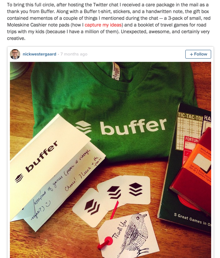 A post from  Nick Westergaard , social media expert and a guest at chat sessions conducted by Buffer.