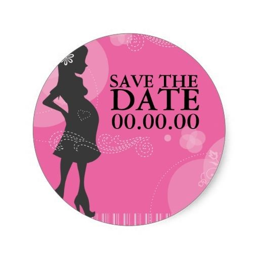 BABY SHOWER SAVE-THE-DATE STICKER  Image via  Zazzle
