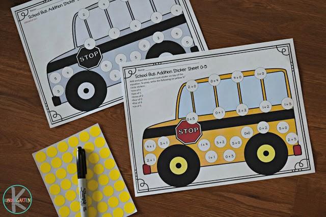Addition Worksheet Stickers  Image via  Kindergarten Worksheets and Games