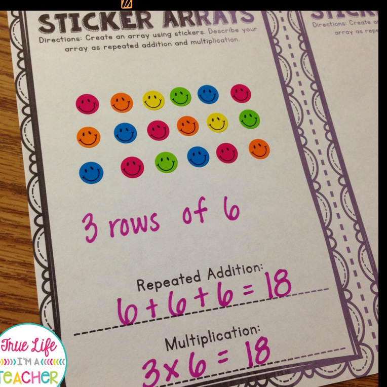 Using Stickers to Teach Multiplication  Image via  Pinterest
