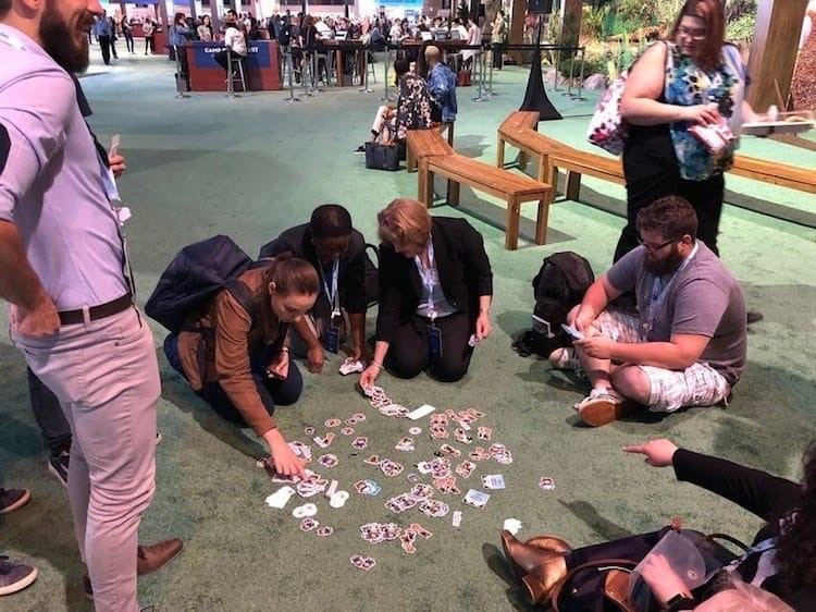 Salesforce Trailblazers engaging in Sticker Swaps at the Dreamforce 18 conference  Image via  Salesforce Blog