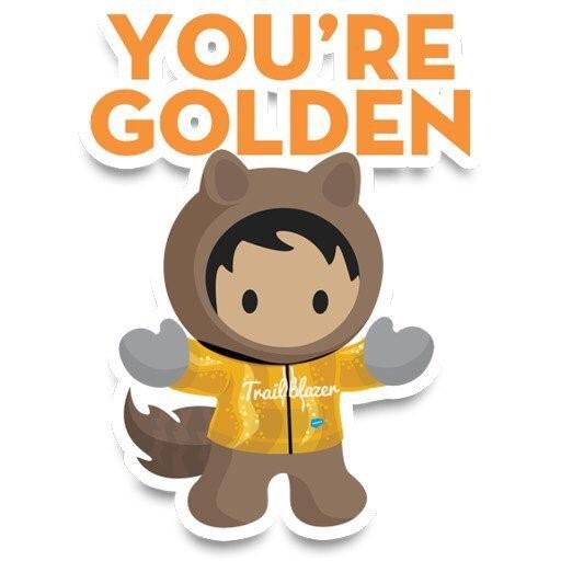 Salesforce Astro Golden Hoodie Sticker  Image via  Douglas C Ayers