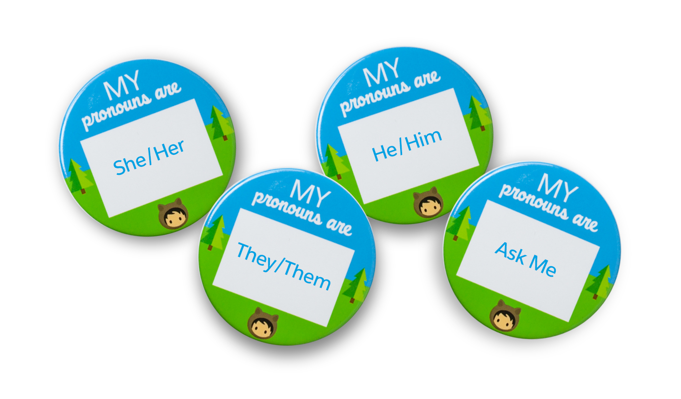 Pronoun Stickers used at Dreamforce, Salesforce's Annual Conference  Image via  Salesforce Blog