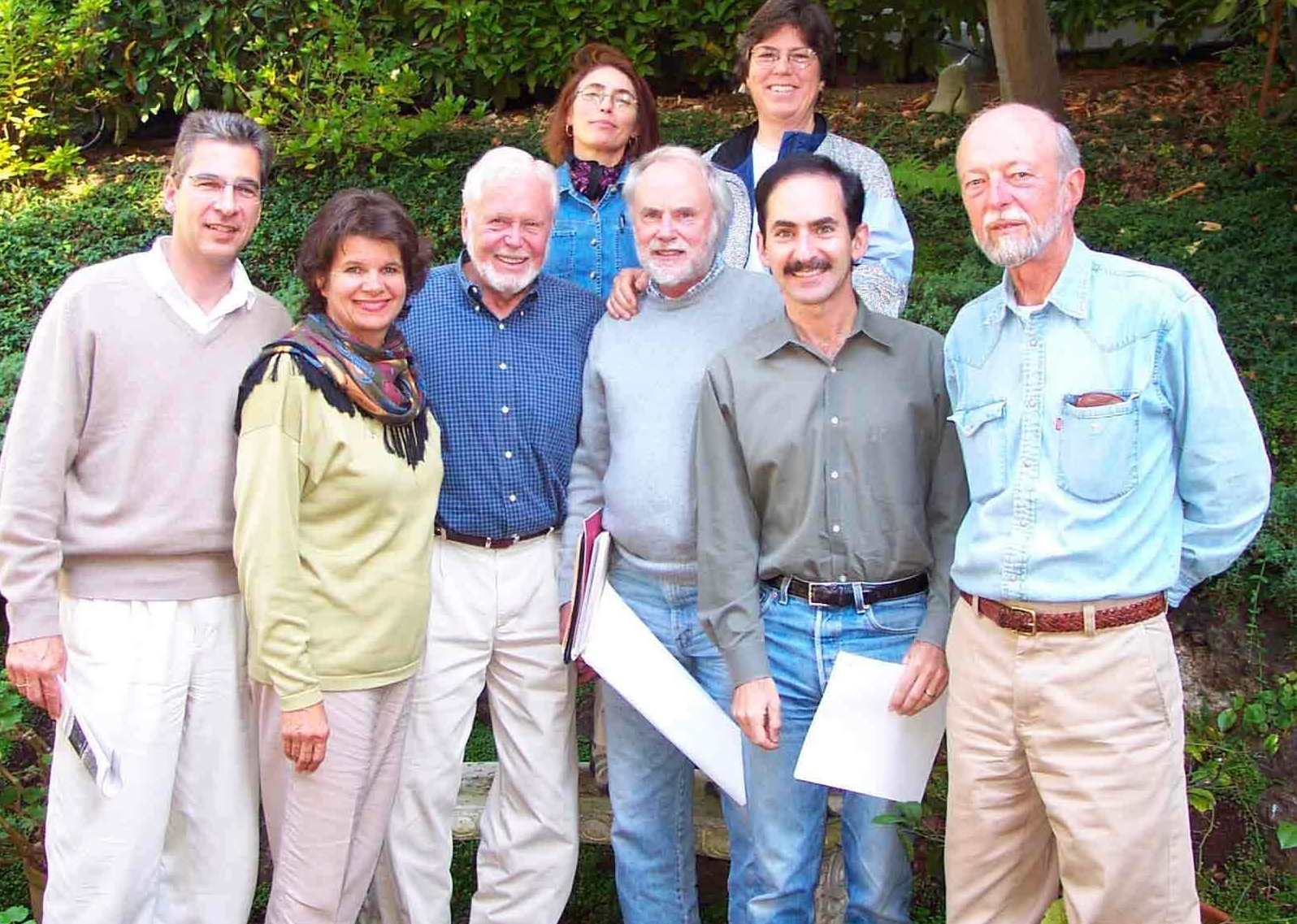 Some of the original 2001 board members,l. to r., Klaus Burmeister, Nancy Mueller, Tim Wallace, Tamia Marg, Bill McClung, Joan Collignon, Barry Miller and Joe Engbeck. (Not pictured are Marion Brenner, Betty Croly,Marilyn Goldhaber and Ronnie Rogers.)