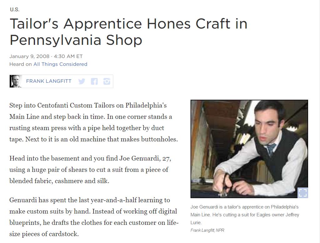 Tailor's Apprentice Hones Craft in Pennsylvania Shop -National Public Radio