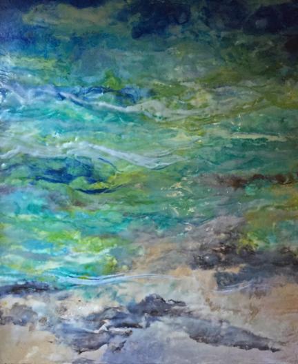 """Evening Tide""                                                  Encaustic on birch panel                                           24x20  ($1200.00)"