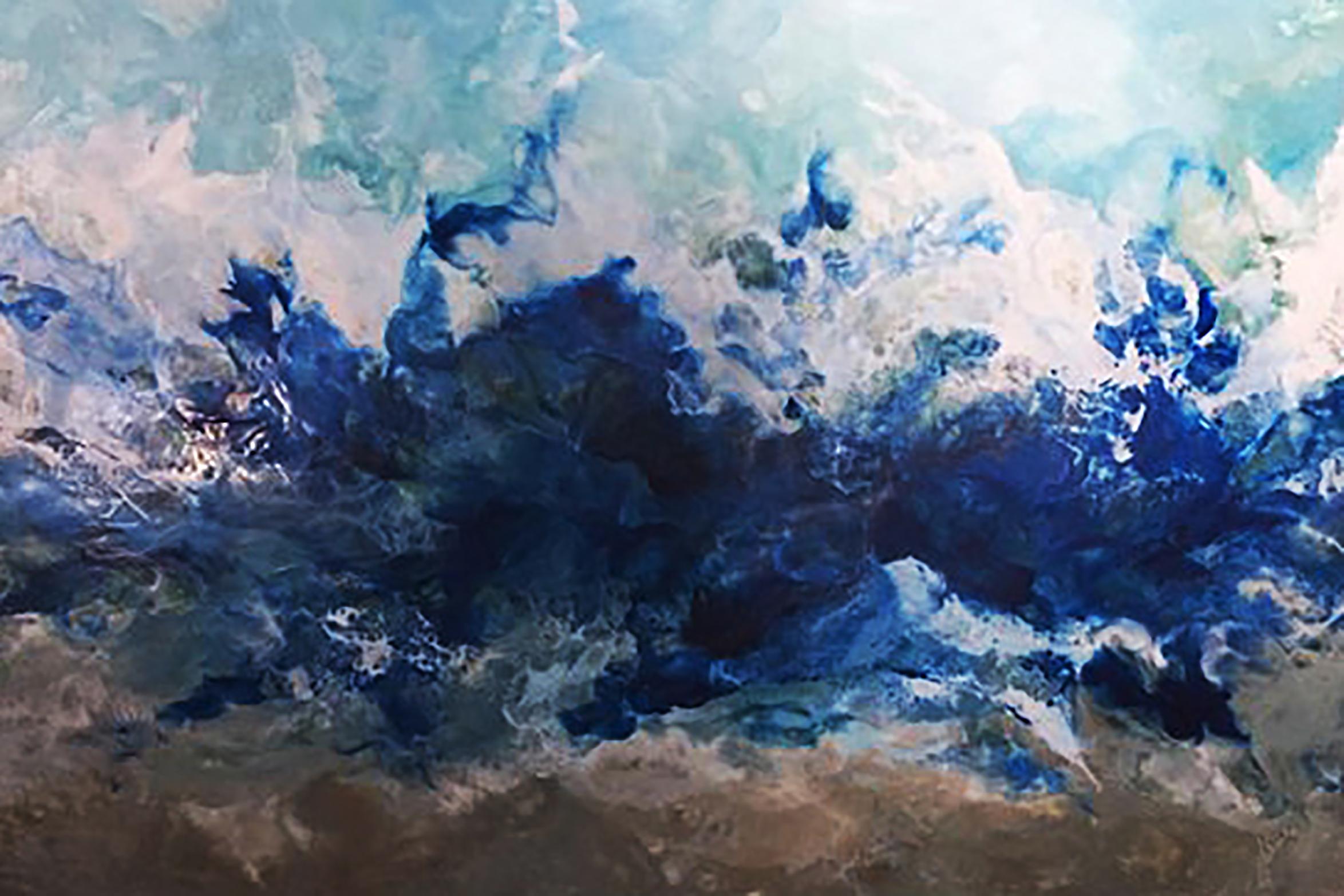 """ Maine Blue ""                                                                Encaustic on Birch Panel                                                         24x36 ($2800) SOLD"