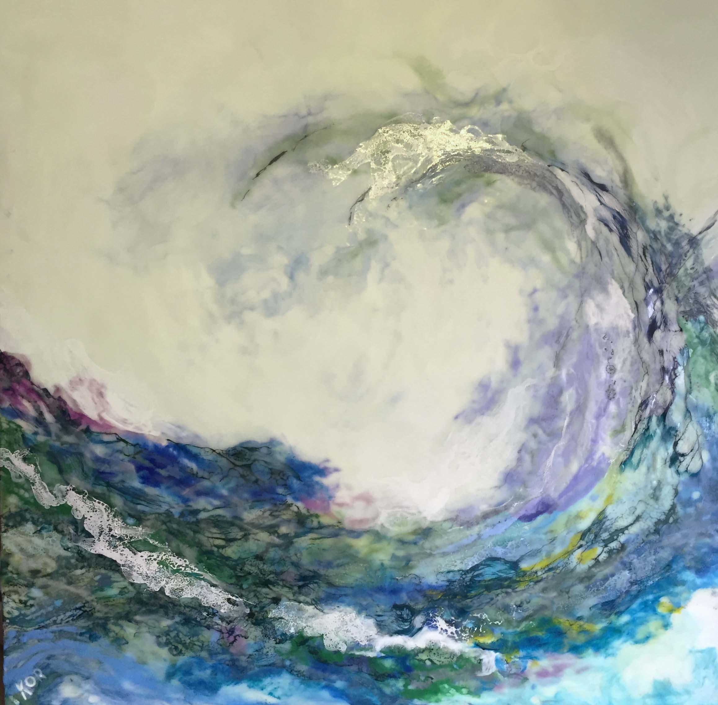 """Wave Crest""                                                                 Encaustic on Birch Panel                                                         30 x 30 ($2000.00)"