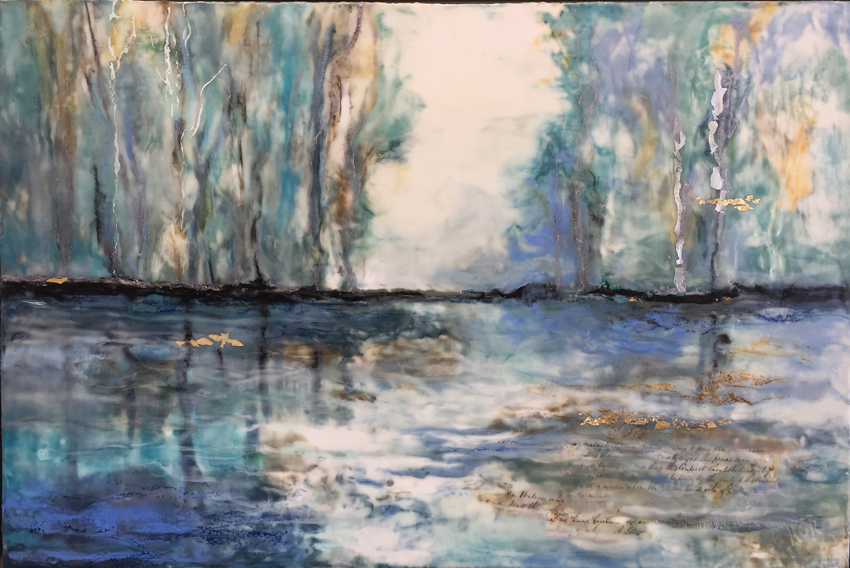 """Kennebunk Marsh""                                                                                                                          Encaustic on Birch Panel                                                                                                                   24 x 36   ($3500.00)"