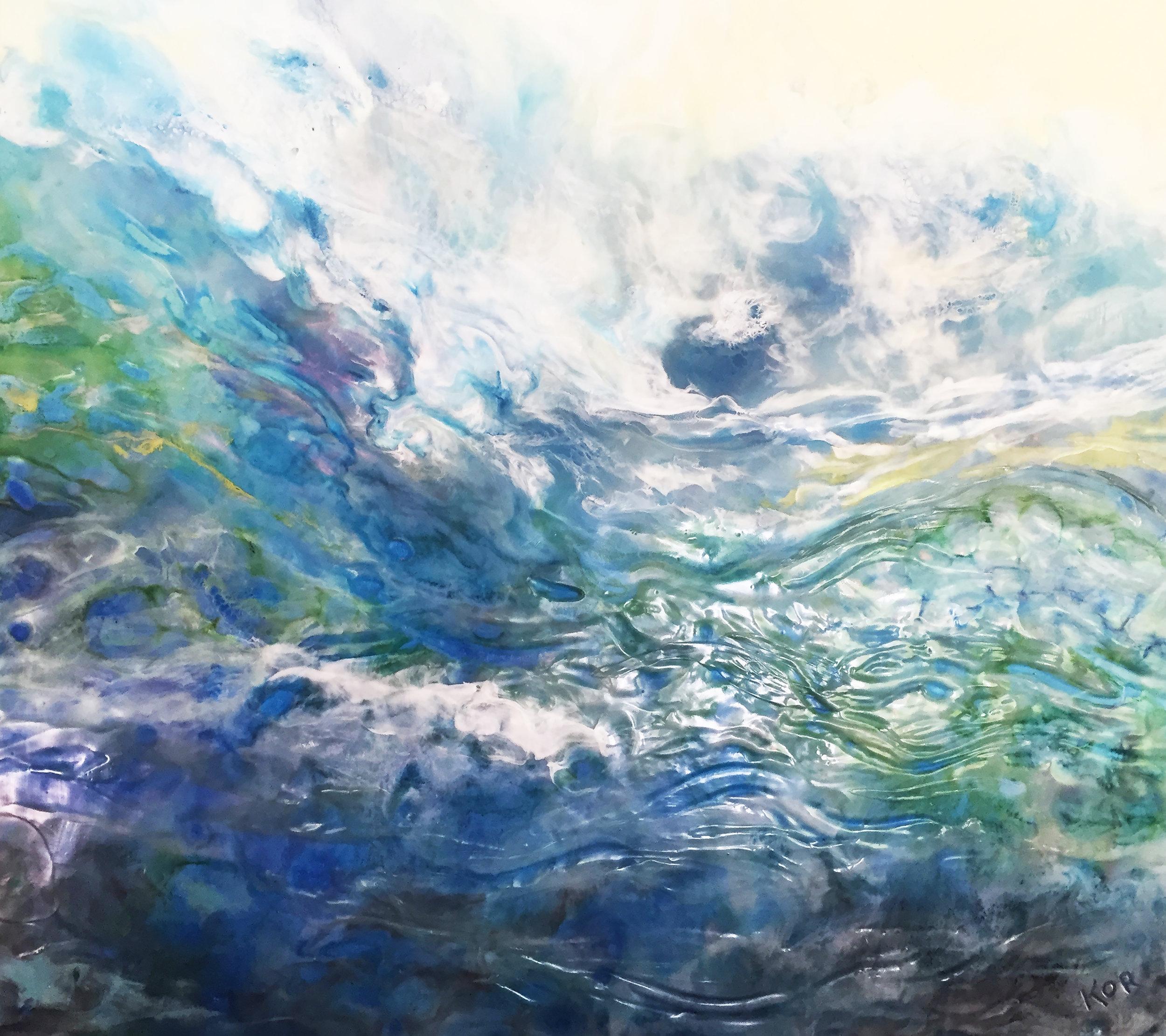 """Spring Tides"" Encaustic on birch panel 36x36  ($3000.00)"
