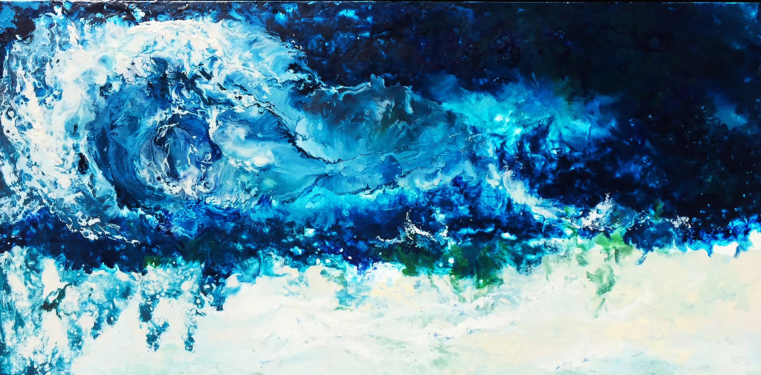 """Wave"" Encaustic on birch panel                                                     48x24 ($3000.00)"