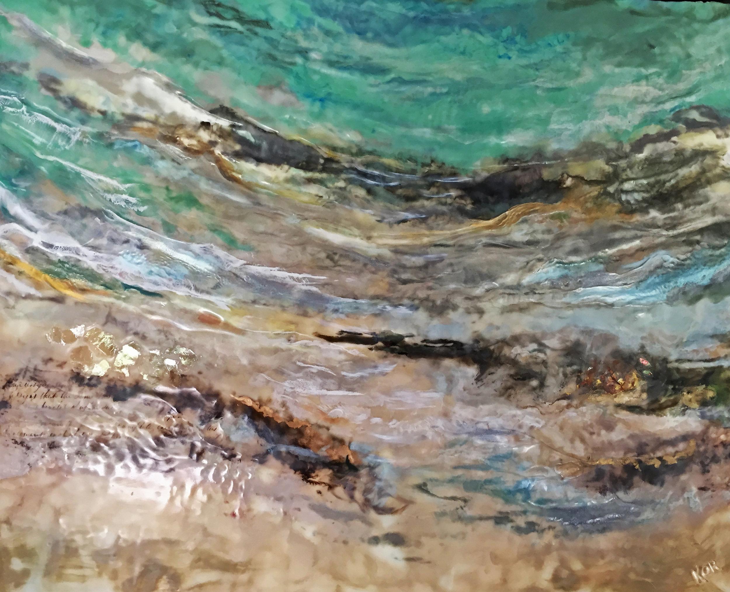"""Shallows""                                                       Encaustic on birch panel  30x20 ($2800.00)"