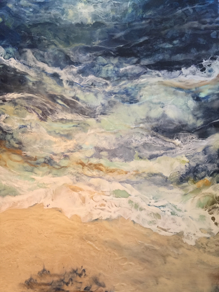 """Neptunes Lullaby"" Encaustic on birch panel 40 x 30 ($3500.00) SOLD"
