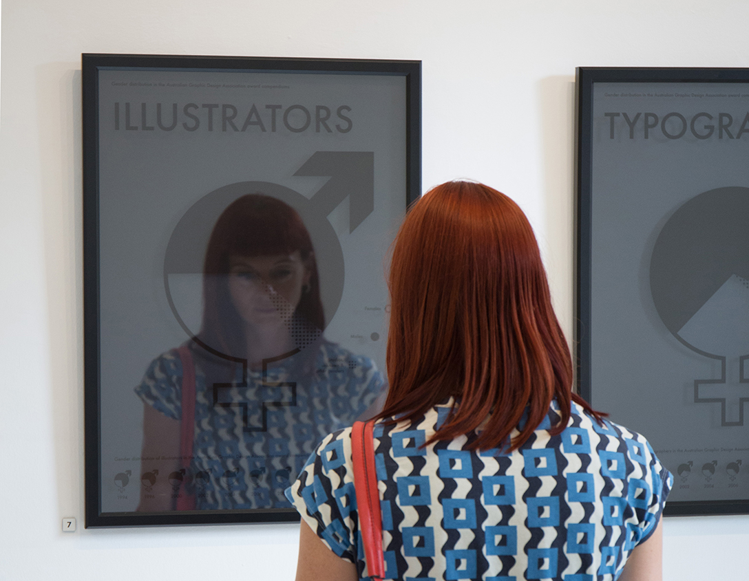 The 'Anonymity' exhibition displayed posters revealing gender divisions in design awards. Photography: Rikki Paul Bunder