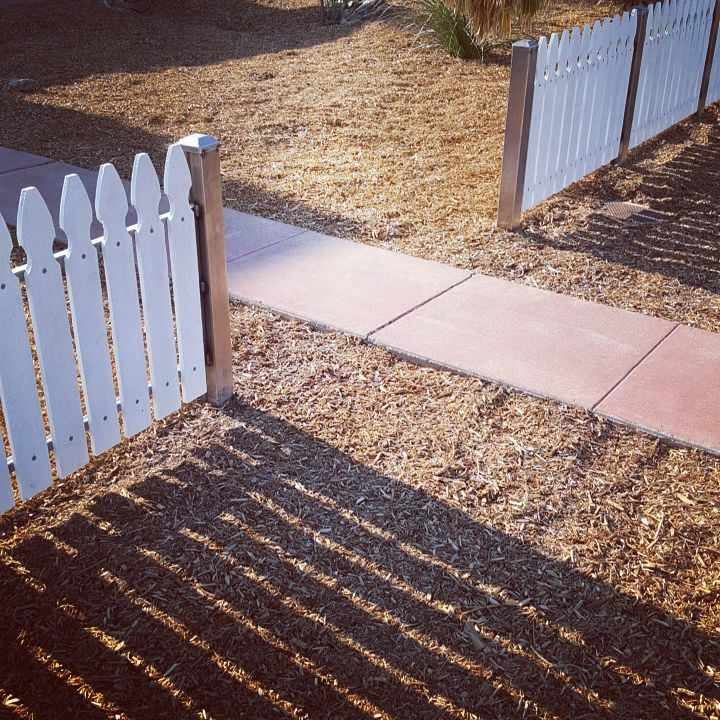 Playing with Pickets  We had the pleasure of working with our friend Joe on this project. He created this custom white picket fence for Judi's yard…and we couldn't be happier with the outcome.