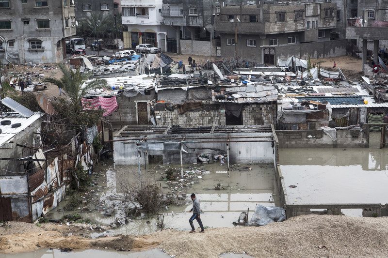 A flooded quarter in northern Gaza's Jabaliya refugee camp, February 2017. Gaza's beleaguered sewage system is overwhelmed during heavy rains, causing flooding and forcing families to evacuate from their homes.   Anne Paq/ActiveStills