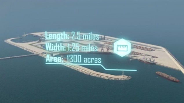 A screenshot from the Gaza Artificial Island Initiative released June 28, 2017 by the Intelligence Ministry headed by Yisrael Katz.