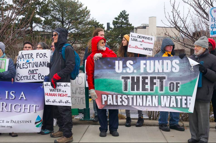 The Alliance for Water Justice in Palestine on our World Water Day standout. Photo: Larry Aaronson