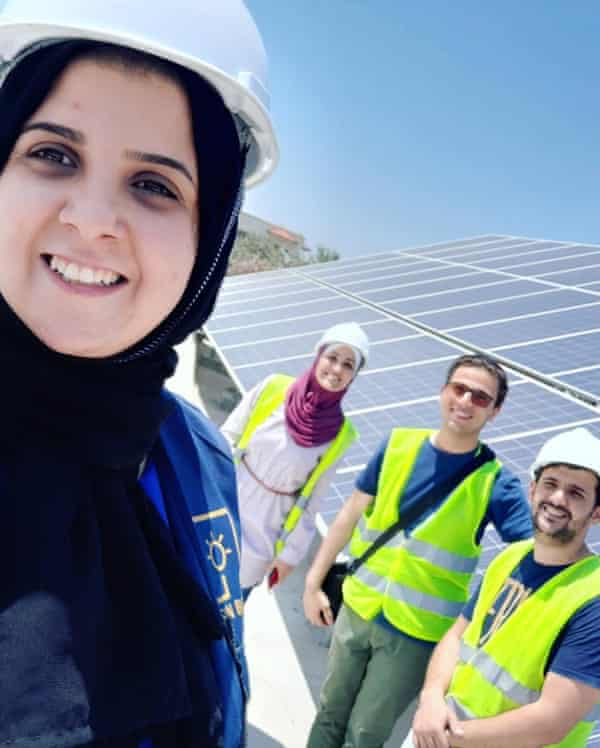 Majd Mashharawi installs the SunBox System with (from left) Ahmad Barzaq, Ammar Nada and Rehab Abus Haiba. Photo: Courtesy of SunBox