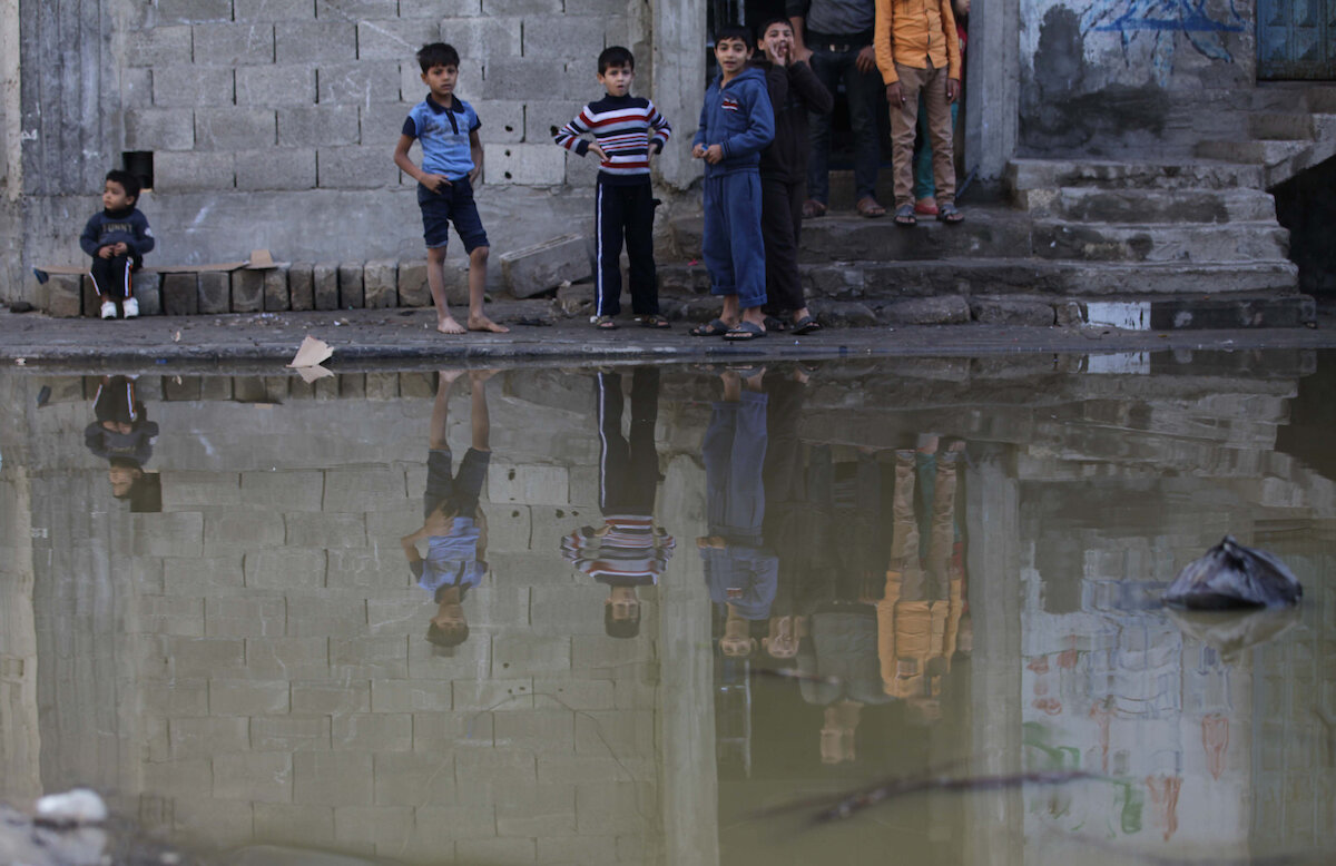 Photo from the article: As Gaza approaches 2020 'uninhabitable' deadline, Palestinians strive to weather the collapse. Sarah Algherbawi  (The photo is of liquid sewage.)