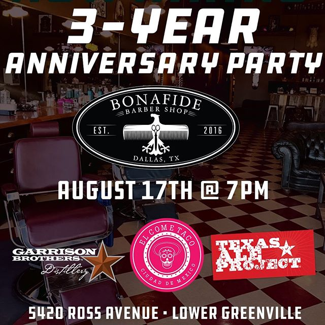 Come out next Saturday and help us celebrate our 3 year Anniversary !! We will have food from @elcometaco and @texasaleproject will be here along with @garrisonbros Texas Bourbon.