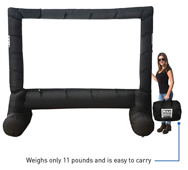 This is an AWESOME  blow up Outdoor Movie Screen  is 14 feet diagonally and a great size for a backyard movie night!