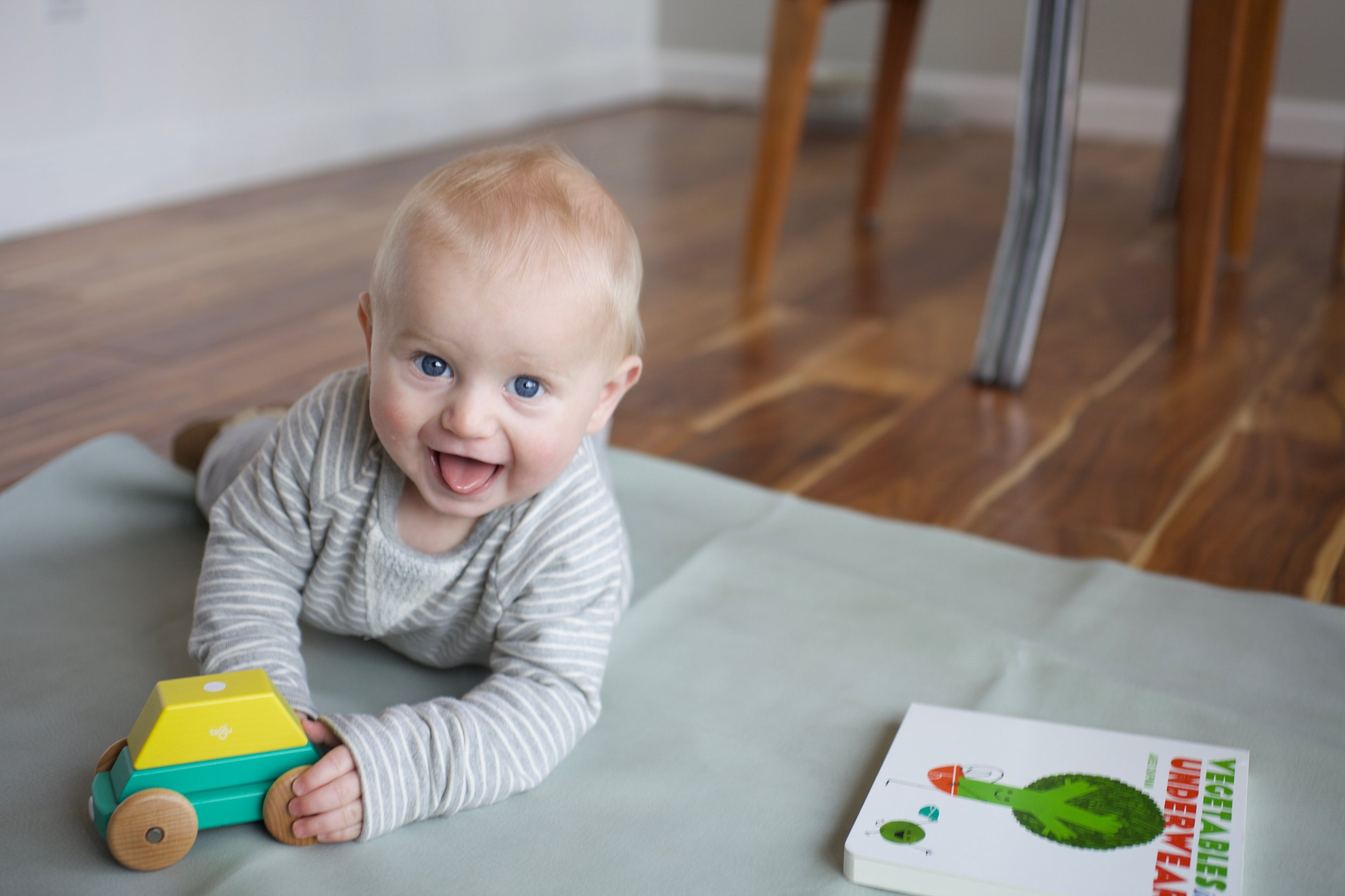Cohen loves his Tegu Magnetic shape train: These beautiful wooden blocks have magnets inside to aid in creative play.