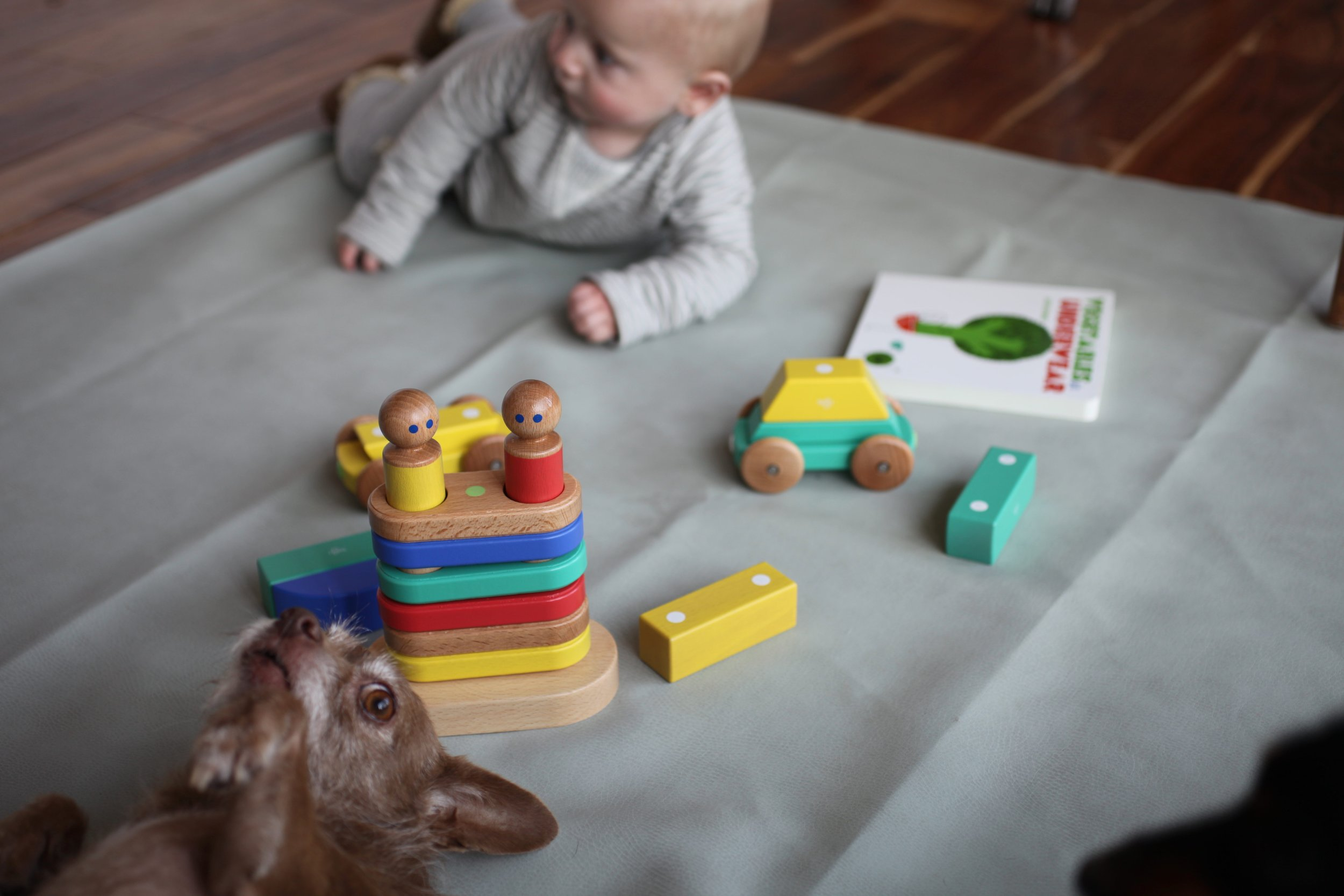 The Tegu Magnetic floating stacker is a great option for babies aged 6 months to pre-school IMO