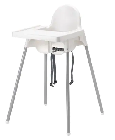 Ikea Antilop High chair is AWESOME and only costs $20! The legs come off for easy travel too!