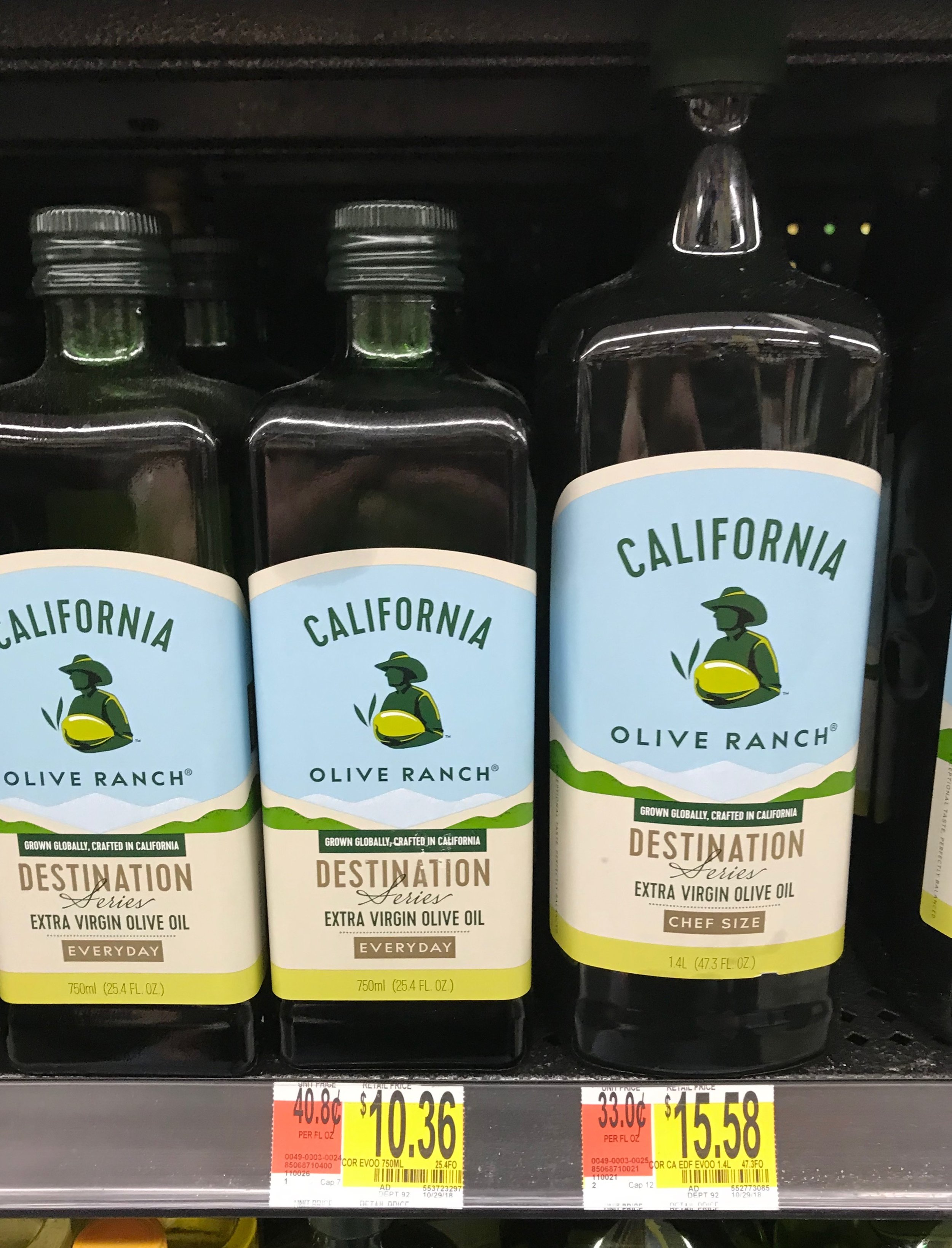 California Olive Oil: you get 30.4 MORE ounces for $2.41 LESS that the price on Amazon!!