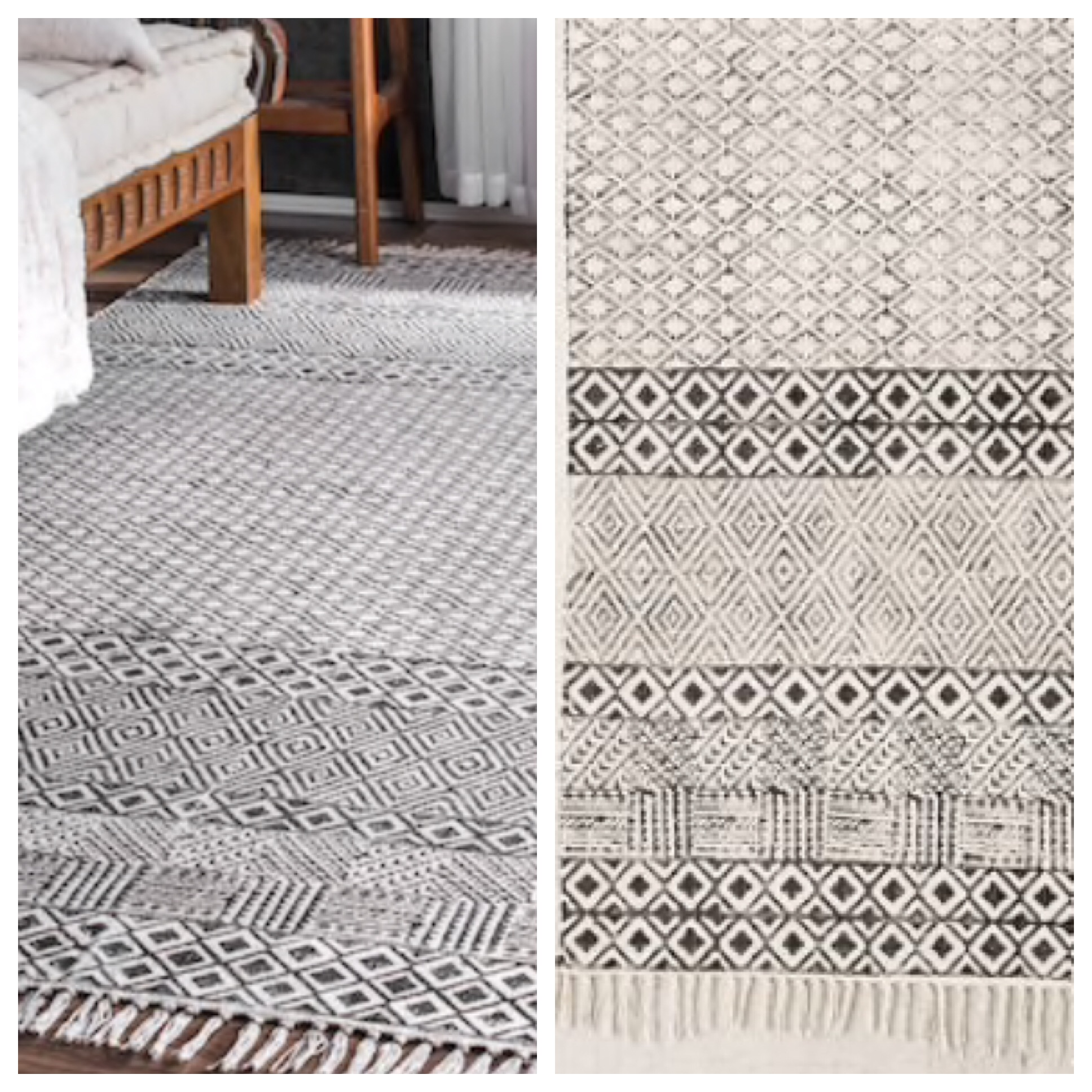 You can buy the Halen Horizontal Block Print Rug is $629 at Urban Outfitters OR the Chembra Gray Block Printed Cotton Flatweave rug from RUGSUSA for $348. YOU GUYS IT'S EXACTLY THE SAME!!!