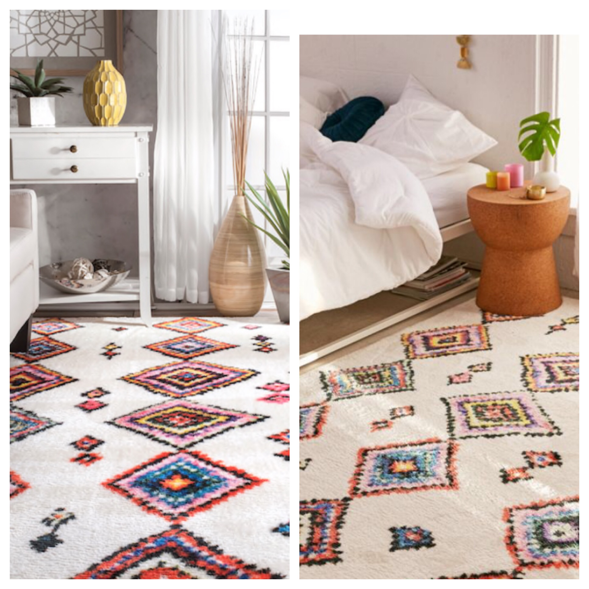 You can get the Cozy Rainbow Diamond Rug from Urban Outfitters for $489 OR you can get the Multi Soft Moroccan Aztec Watercolor area rug from RUGSUSA for $246. THEY ARE THE SAME RUG!!!!