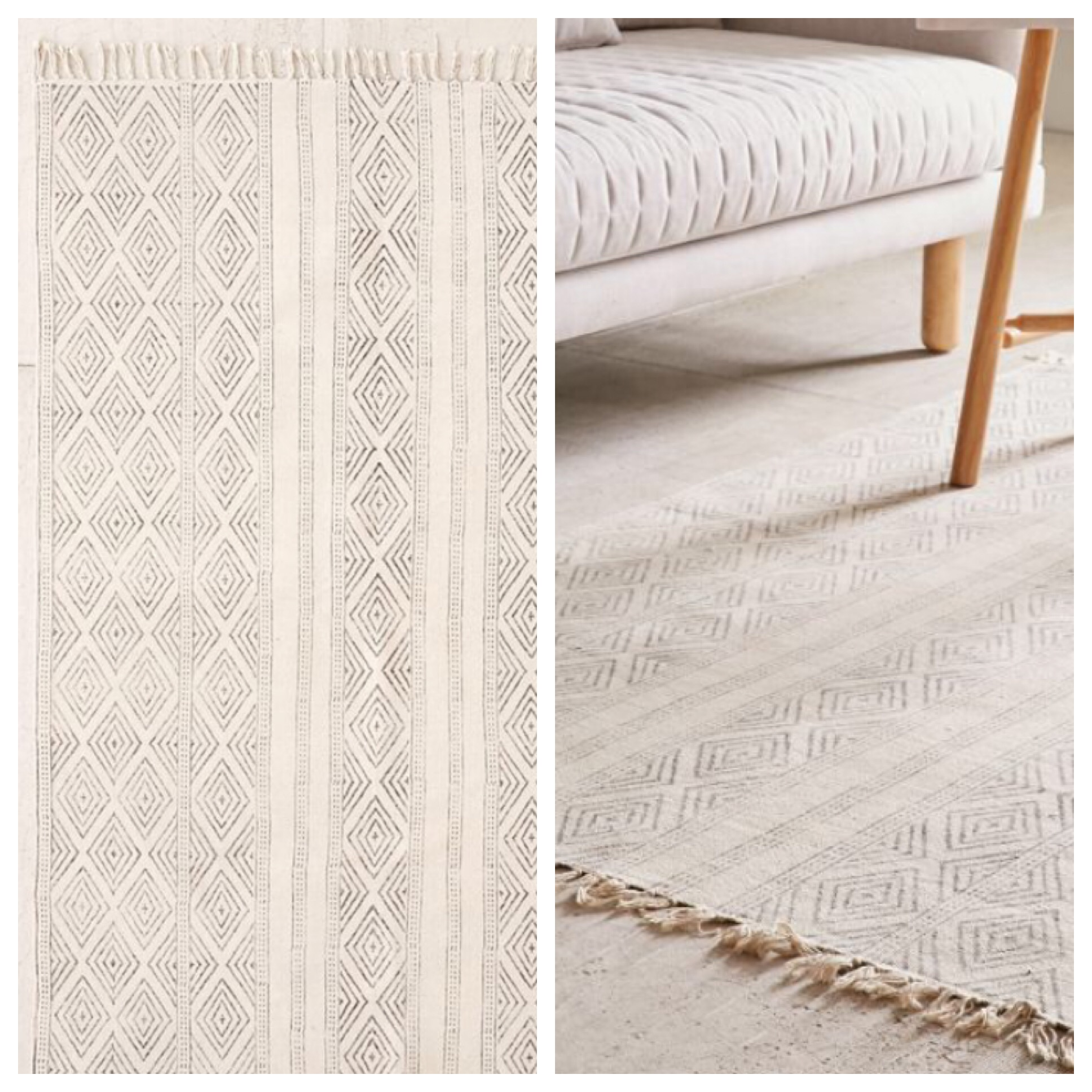 You can get the Tanzin Vertical Block Print rug from Urban Outfitters for 9x12 $629 OR you can get the Chembra Block Printed Flatweave Concentric Diamonds Rug from RUGSUSA for $348. THEY ARE SAME SAME.