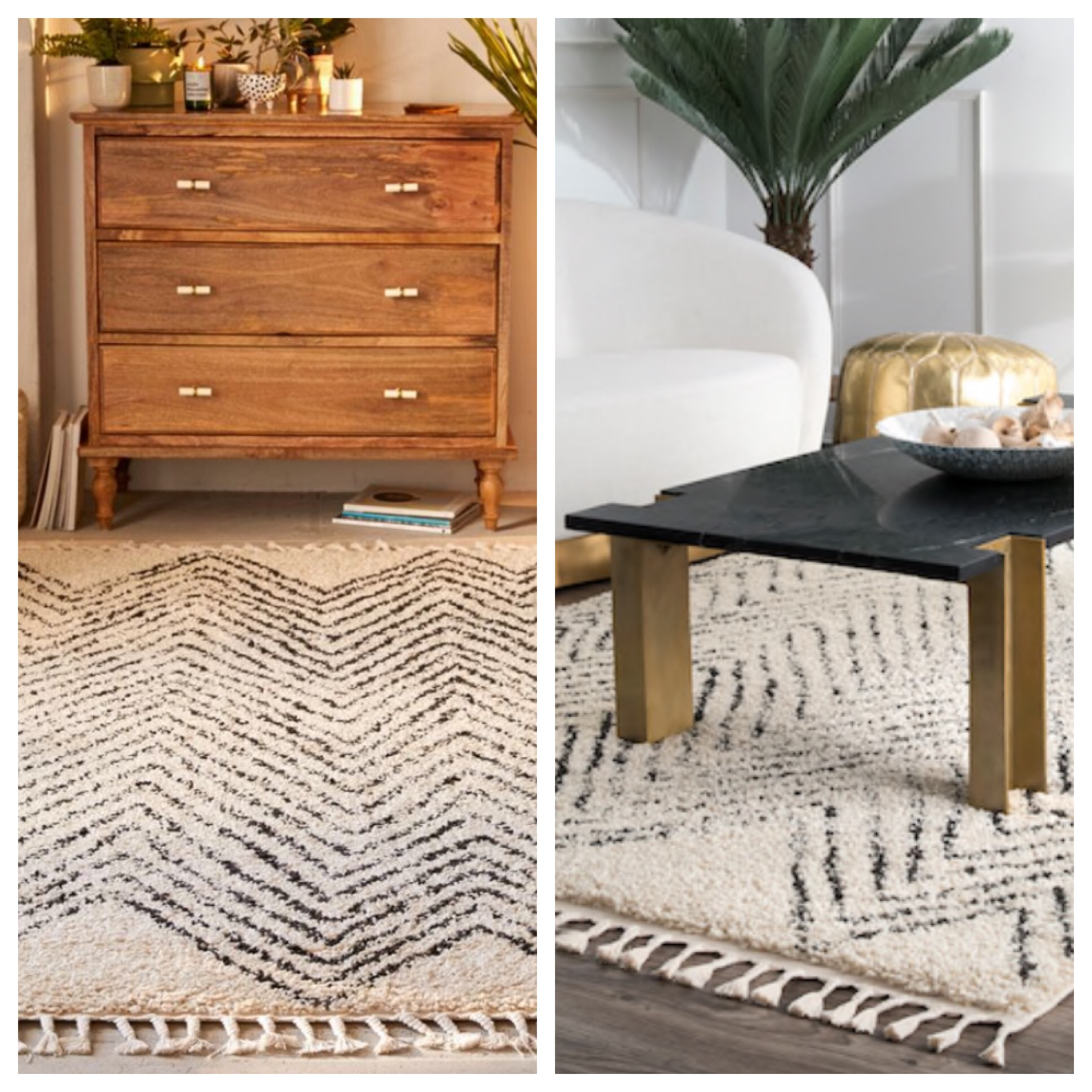 You can get the Chevron Shag Rug from Urban Outfitters for $379 (8x10) OR you can get the Off white Moroccan Chevron Tassel Temara rug for $275. SAME. THEY ARE THE SAME.