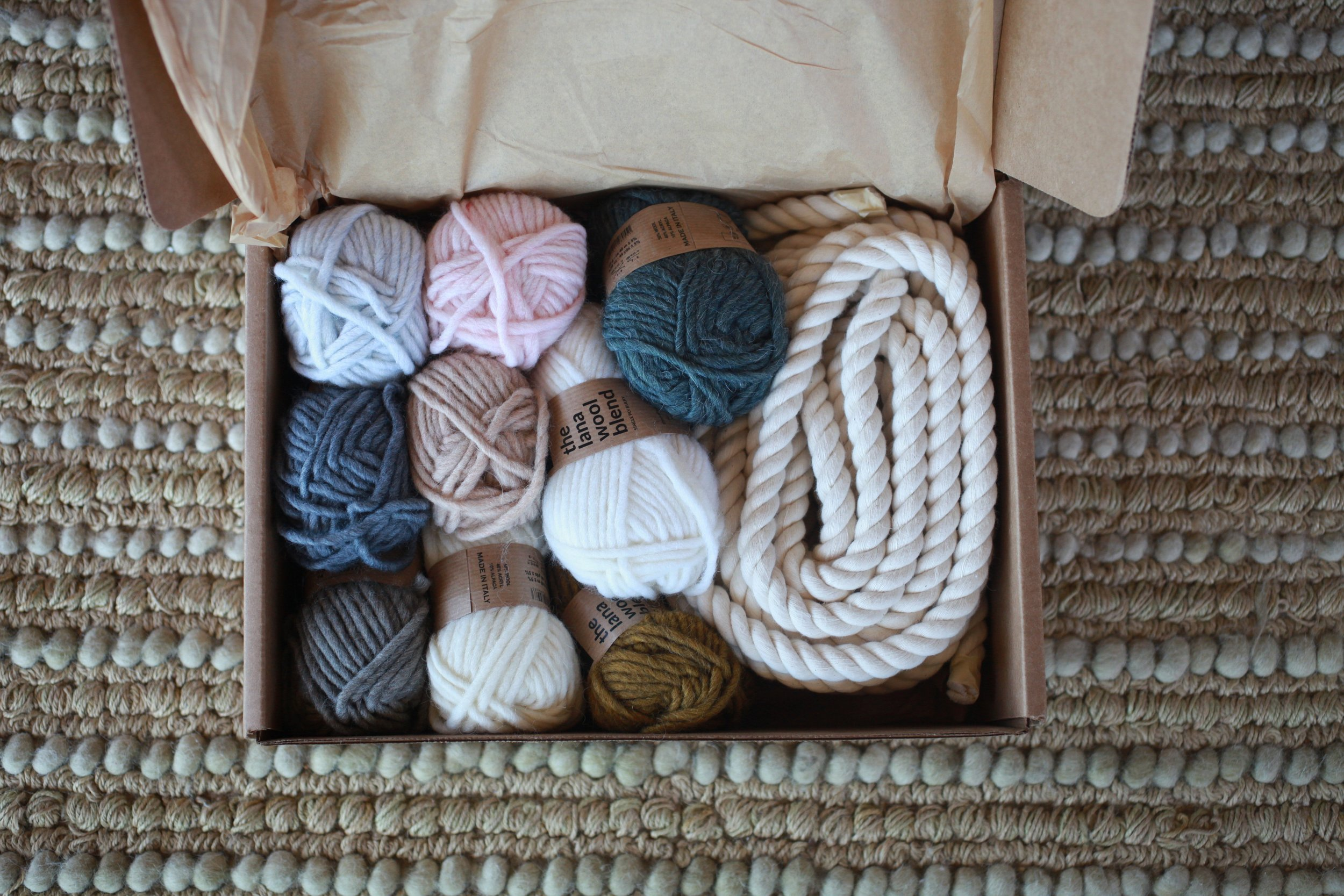 Unsponsored review for The Crafter's Box: My first month's box was Fiber Wrapped Rainbow in a box