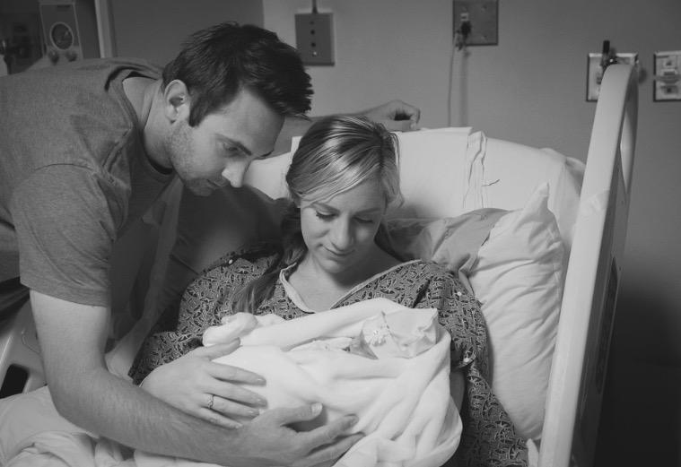 Brady, Renee, and Baby Sydney, shortly after her birth.