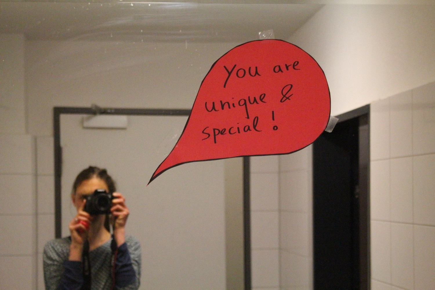 speech bulb on mirror in girl's toilet. Created by 9th graders