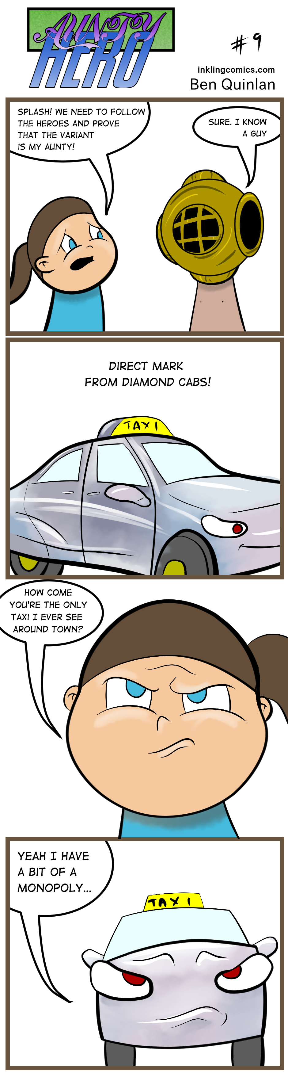 #diamond #diamonddistributors #comics #comicspuns #comicstrip #webcomic #puns #funny #gag #OC #cars #taxi #auntyhero #inklingcomics #mint #splashpage #directmarket