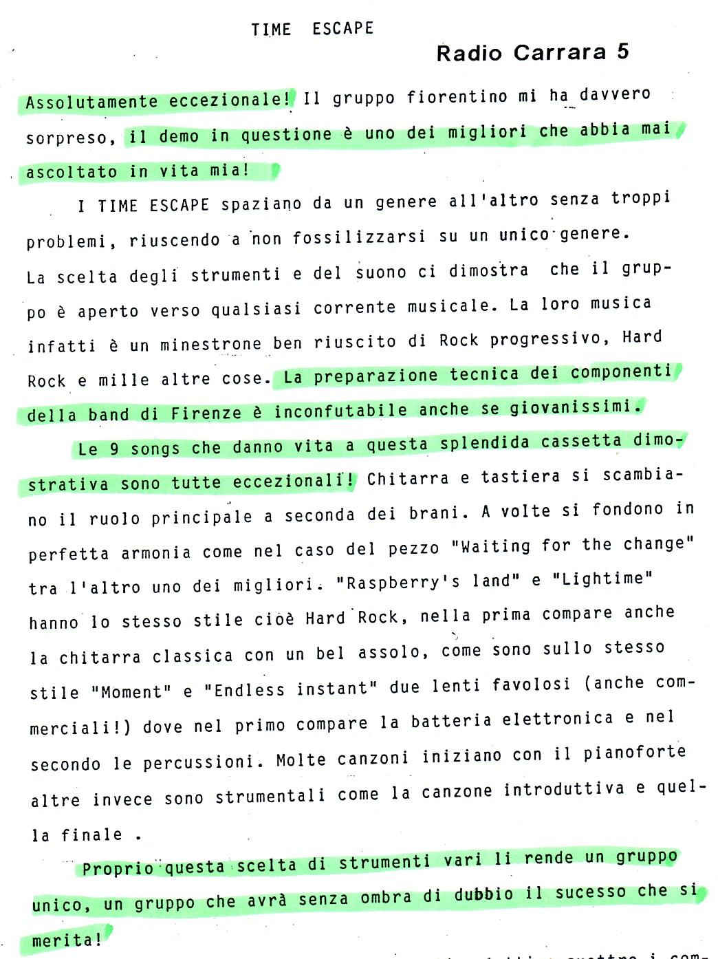 RADIO CARRARA (ITALY) - 1988