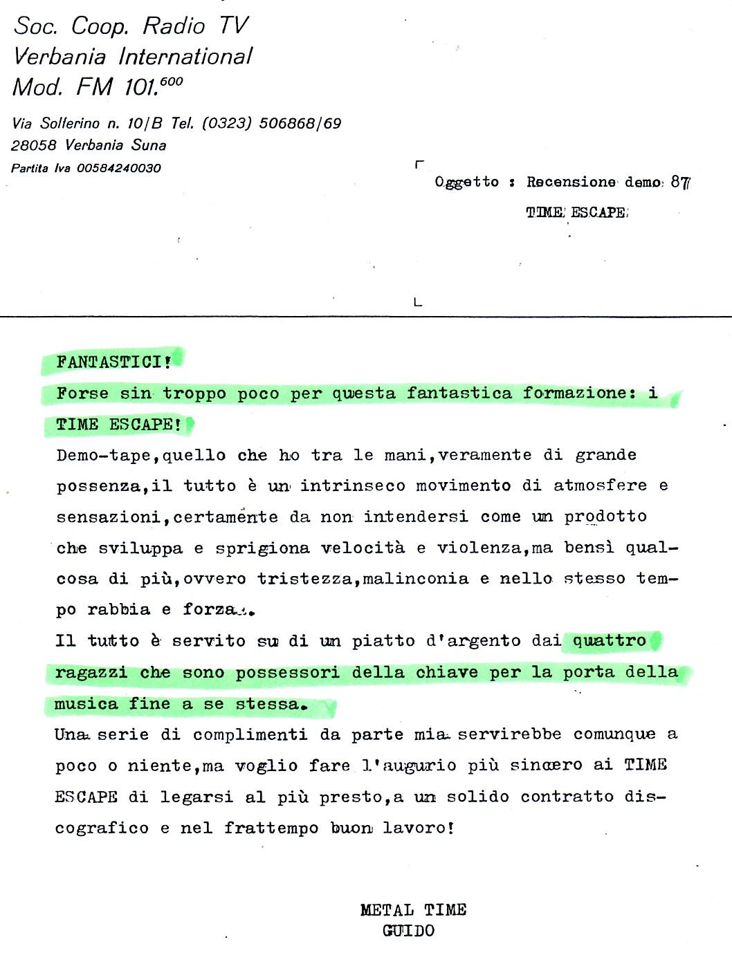 RADIO VERBANIA INTERNATIONAL (ITALY) - 1988