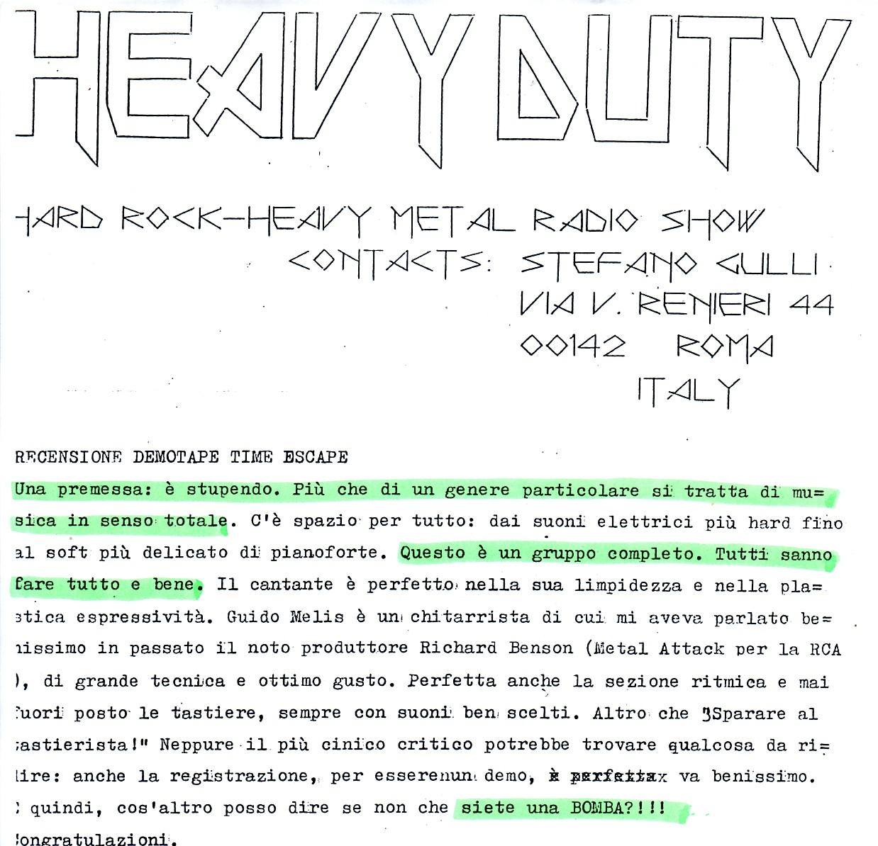 HEAVY DUTY (ITALY) - 1988