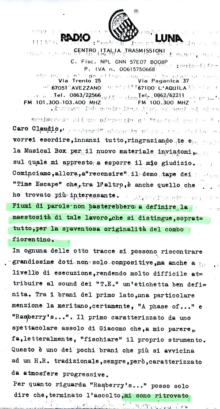 RADIO LUNA [1] (ITALY) - 1988
