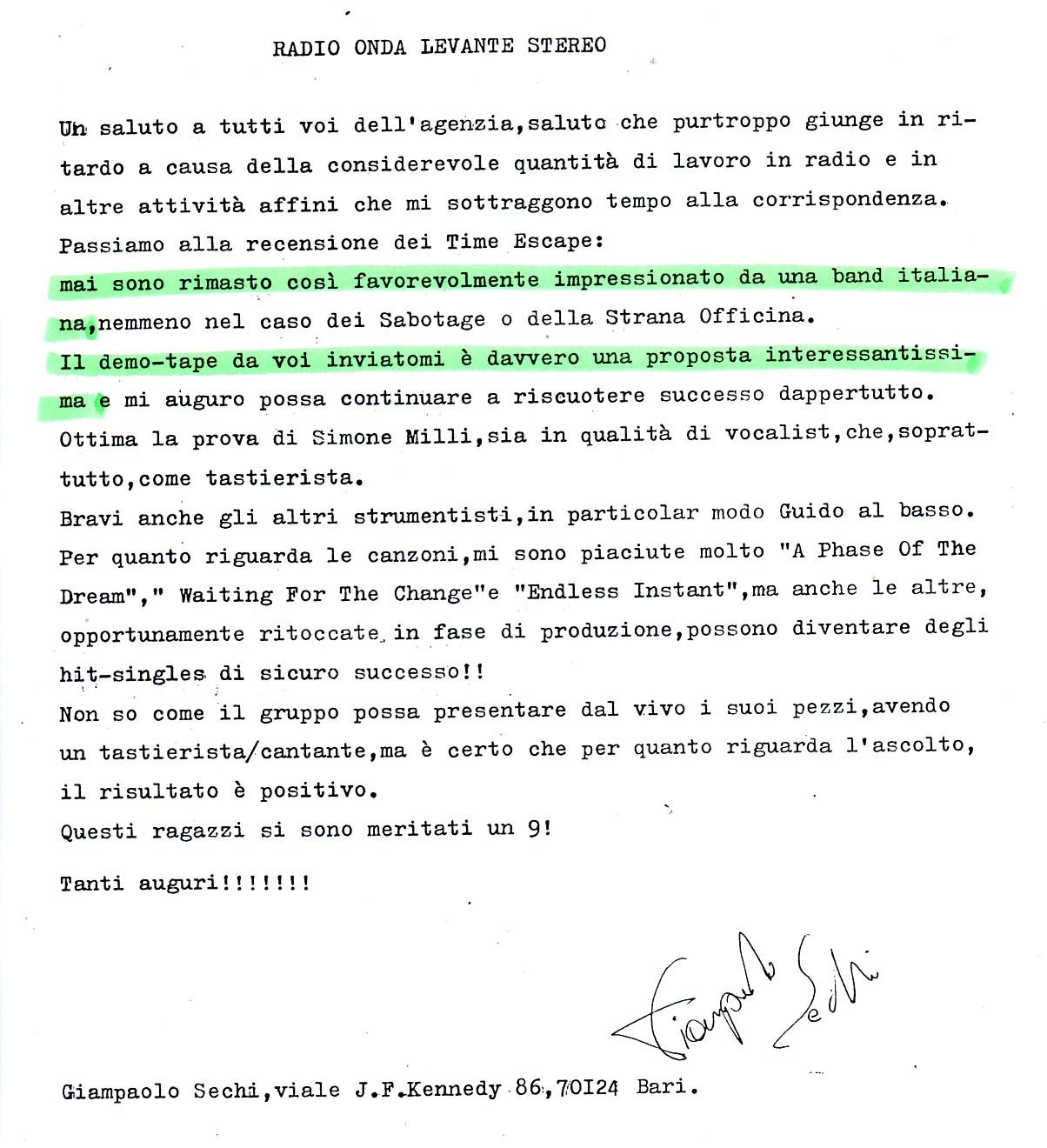 RADIO ONDA LEVANTE (ITALY) - 1988