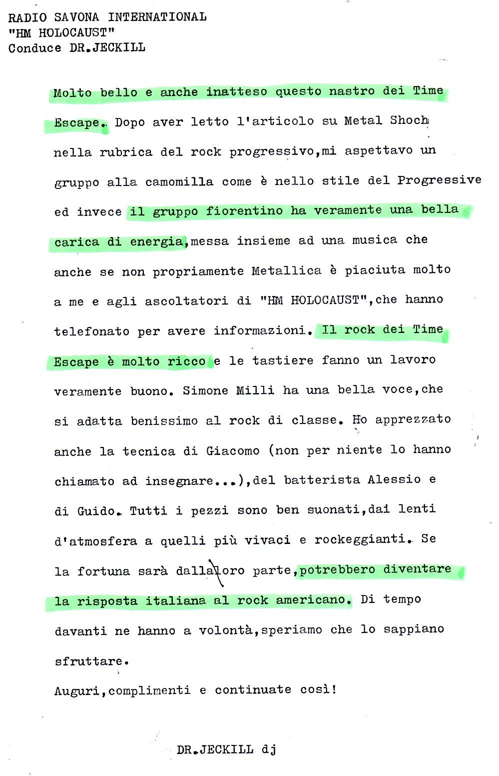 RADIO SAVONA INTERNATIONAL (ITALY) - 1988