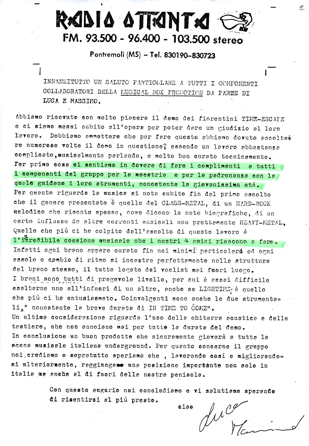 RADIO OTTANTA (ITALY) - 1988