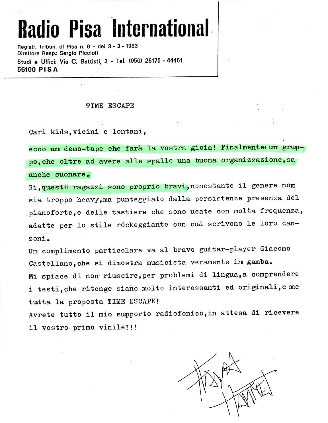 RADIO PISA INTERNATIONAL (ITALY) - 1988