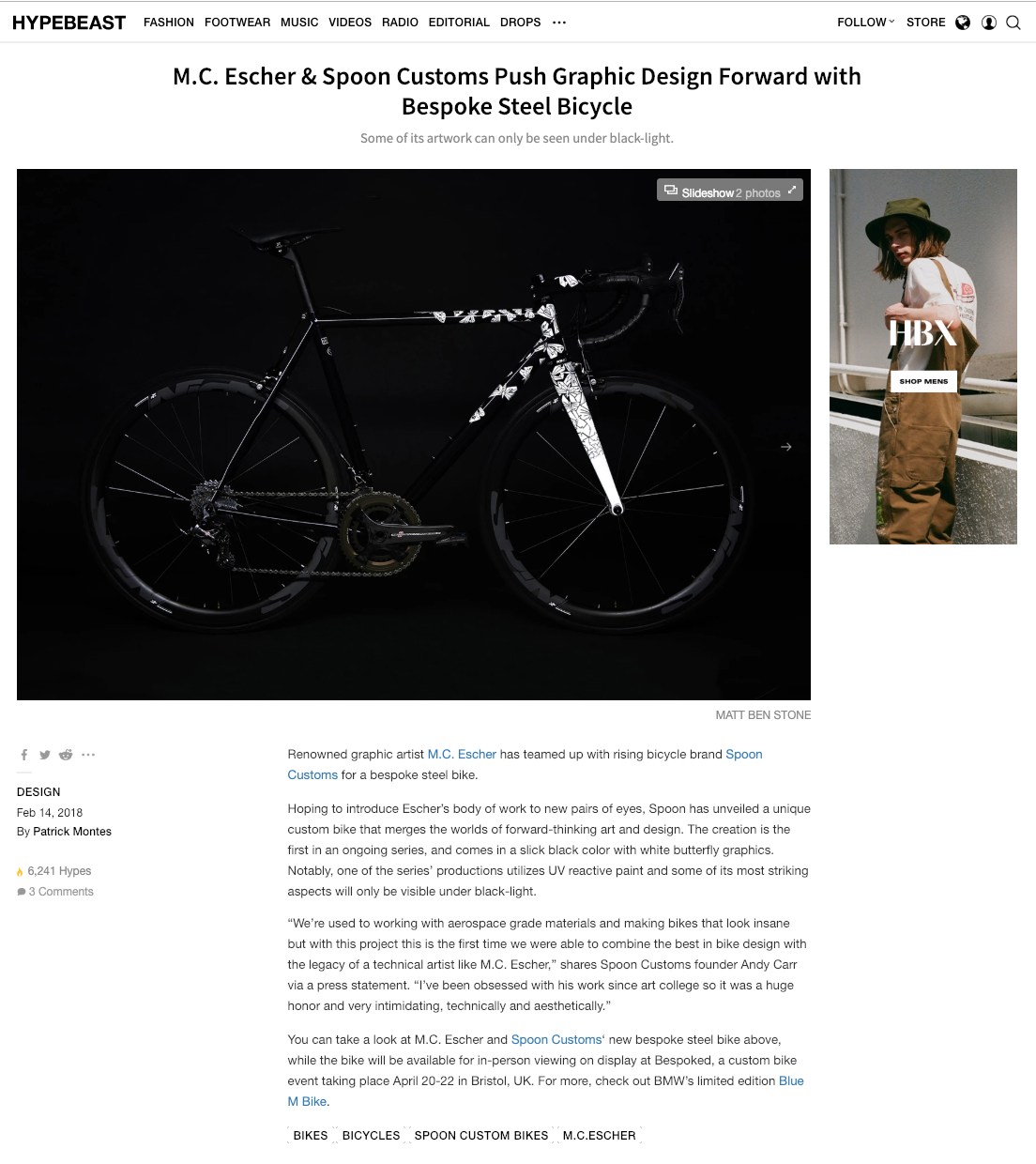 HYPEBEAST - M.C. Escher & Spoon Customs Push Graphic Design Forward with Bespoke Steel Bicycle