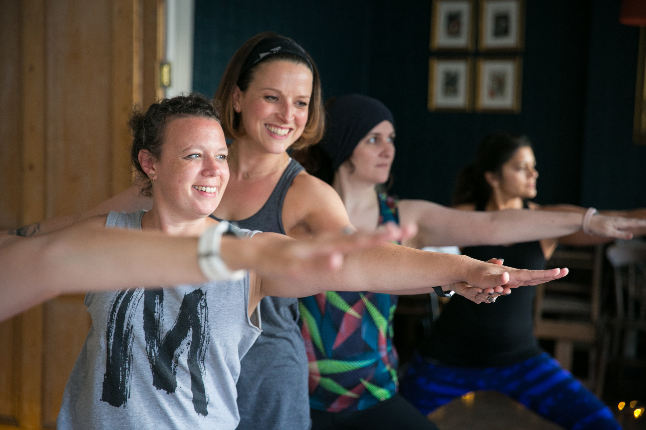 Look! We're smiling! That's how much fun yoga is!