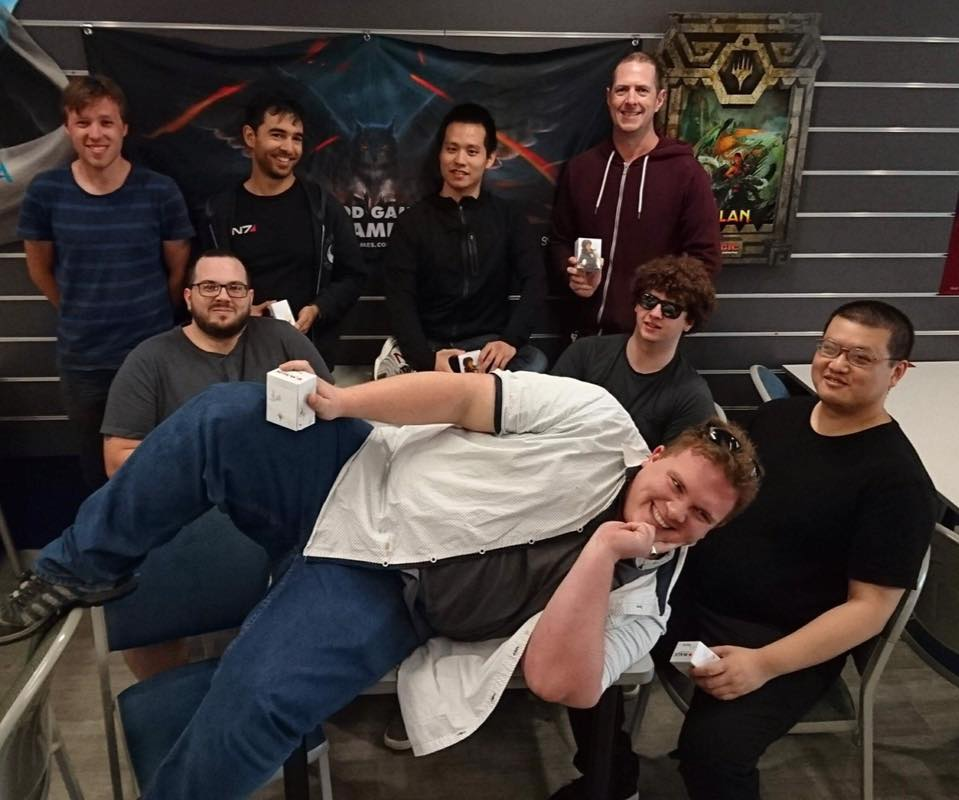 The Top 8 (L-R): Michael (U/W Cycling), Matt (B Aggro), Clay (Mardu Vehicles), David (R/Gu Dinosaur), Josh (U/W Auras), Joe (U/W Auras), Dan (U/B Control), Sushi (Esper Gift)